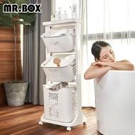 【Mr.Box】雙向取物三層洗衣分類收納籃(附輪)