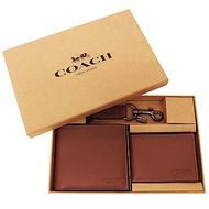 COACH 全牛皮男款8卡短夾附鑰匙圈活動證件夾禮盒(咖)