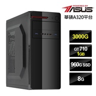 【華碩平台】AMD雙核{熱血祭司}GT710獨顯電玩機(3000G/8G/960G_SSD/GT710)