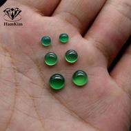 diy平底光面天然綠色寶石翡翠玉色玉髓圓形6mm7耳釘戒指戒面素面