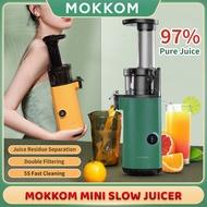 Mokkom Mini Slow Juicer Portable Vertical Masticating Juicer Machine Dual Filter Net system