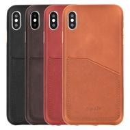 【現貨出清】 IPhone XS Max XR X 8 7 Plus SE 2 2020 皮革保護殼真皮打蠟革插卡手機殼