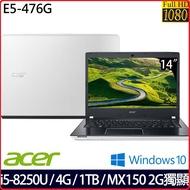 ACER E5-476G-59TT 14吋FHD 經典白效能筆電 白色 14吋FHD/ i5-8250U四核心/4G/1TB/MX150_2G獨顯/Win10