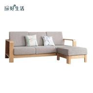 【hoi!】原木日式半島白橡木實木寬扶手可拆洗三人布沙發 附插座 +腳踏w0489-深卡其色坐墊