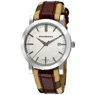 Authentic Original Burberry Women's Heritage White Dial Wine Pattern Leather Wat