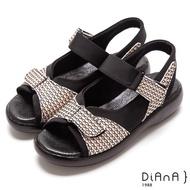 【DIANA】立體幾何紋布魔鬼氈式鞋帶輕量厚底涼鞋-新穎美學(米)