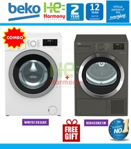 [Package] Beko 8kg Front Load WMY 81283 LB2 + Beko 8kg Heat Pump Dryer DS8433RX1M ( Mesin Basuh + Pengering Baju Combo Set )
