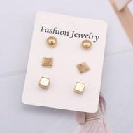 ยุโรปหวาน Ball Cube Cross Stud ชุดต่างหูสำหรับผู้หญิง Brinco ทองเงินสีเครื่องประดับราคาถูก oorbellen สาวน่ารักของ...
