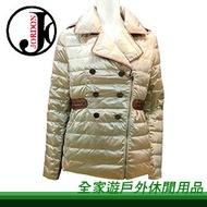 【全家遊戶外】㊣Jordon橋登 仕女羽絨外套 金色 M、L、XL 442-1/單件式羽毛衣 羽絨外套 羽絨衣 羽毛外套 保暖透氣