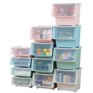 大容量前開斜口收納箱 附輪 3入 斜口收納箱 收納盒 翻蓋式收納箱 置物箱 衣物收納 整理盒【MM-I062-3】