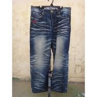 正品 Big Train 墨達人 刺繡 直筒牛仔褲 size: 2L