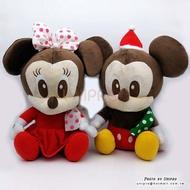 【UNIPRO】迪士尼 聖誕 米奇 米妮 坐姿 絨毛玩偶 31公分 娃娃 禮物 X'MAS