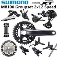 SHIMANO DEORE XT M8100 Groupset 24 Speed 26-36T 170 175MM Crankset Mountain Bike Groupset 2x12-Speed