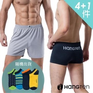 【Hang Ten】momo獨家 舒適透氣男內褲.平口褲4件組_3款可選(贈HangTen船型襪)