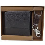 COACH 超值全皮荔枝紋雙夾六卡中夾+鑰匙圈禮盒組-咖啡色F66072