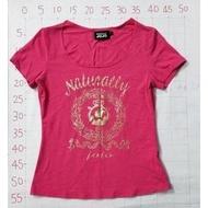 【二手衣櫃】NATURALLY JOJO 桃紅色短袖T恤 圓領短袖T恤M號 LOGO時尚燙金圖案亮片修身短袖T恤上衣爆款