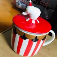 星巴克聖誕節紅色馬戲團大象蓋陶瓷馬克杯