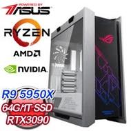 華碩系列【最強王者AZ】AMD R9 5950X十六核 RTX3090 電競水冷電腦(64G/1T SSD)