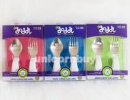 英國 Doddl  兒童學習餐具 藍/綠/粉 訓練餐具組 二件組 Unicorn