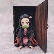 Demon Slayer Figure Kamen Nidouzi AnimeTwo-dimensional Car Hand Model Wooden Finished Product Statue Desktop Decoration for Gift [9cm.]