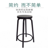吧台椅 椅子鐵藝吧台椅酒吧吧凳家用高腳圓凳實木凳子吧椅簡約
