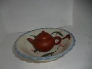 (已售出)早期 民國40~50年 阿嬤ㄟ老回憶 老台灣古早手繪胭脂紅老碗盤(可當壺承/茶船) 菊瓣形/鐵皮車蝦盤大同寶寶