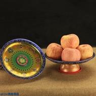 現貨出售★藏式密宗佛教用品八吉祥彩繪合金供盤八寶水果盤供佛中號蓮花果盤