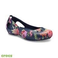 Crocs卡駱馳 (女鞋) 卡笛印花平底鞋 205862-96NW5深藍