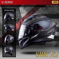 [中壢安信]SBK X2 REVOLUTION 彩繪 平黑銀 雙D扣 內襯可拆 內置遮陽片 全罩 安全帽