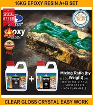 16kg Epoxy Resin A+b SET Clear Gloss Crystal Easy Work Flexible Non Flammable Safe Fast Drying Table Wood Craft