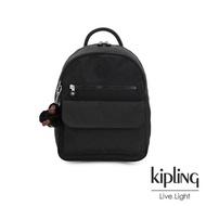 【KIPLING】質感黑休閒雙肩後背包-ROSE