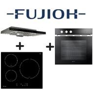 FUJIOH FR-MS1990R 90CM SLIMLINE HOOD + FUJIOH FH-ID5130 3 ZONE INDUCTION HOB + FUJIOH FV-EL51 60L BUILT-IN OVEN