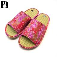 台灣製 透氣舒適室內草蓆拖鞋-花卉桃粉25cm