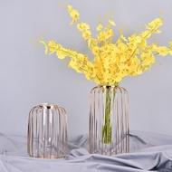 ★〓 I·Enjoy〓★北歐風ins風北歐香檳金色玻璃試管水培花器 現代軟裝擺件輕奢燈籠形鐵藝花瓶 乾花玻璃瓶 拍照花束