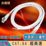 【Fujiei】台灣製CAT.6A 超高速傳輸網路線2米(水晶頭50U金屬鐵殼 ST6202)