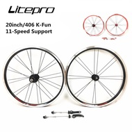 Litepro k-fun Folding Bike 20Inch 406 V Brake Wheels Four Sealed Bearings 11 Speed Bicycle Wheelset Rim sExS