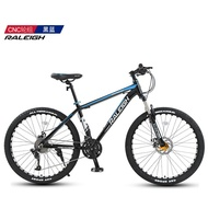 Raleigh aluminum mountain bike 27 / 30 / 33 speed commuter shock absorption boys and girls fitness cross country racing car 30 speed aluminum alloy black blue (spoke wheel) 26 inches