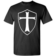 XFPrint66 Template Shield Christian Knight Order-Men's Cotton T-shirt Fun Design