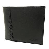 COACH 棒球縫線牛皮男款8卡對折短夾附活動式證件夾禮盒(黑)