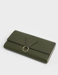 【直飛現貨 正品保證】小CK 拉環掀蓋長夾(橄欖色)錢包 CK6-10780933 皮夾 皮包