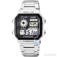 【CASIO】卡西歐多時區鬧鈴電子鋼帶錶-黑 / AE-1200WHD-1A (台灣公司貨)