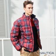 Nautica恆溫保暖科技羽絨格紋外套-紅