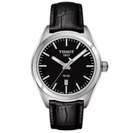 TISSOT 天梭 T1012101605100 PR100 簡約機械石英腕錶-皮帶款 黑 33mm