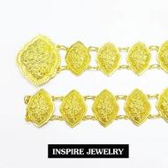Inspire Jewelry เข็มขัดทอง ตอกลายไทย สวยหรู   ปราณีต ราคาประหยัด ใช้ตกแต่งเสื้อผ้าไทย หรือใส่ประดับ ผ้าซิ่น ผ้าถุง