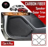 SG Seller Fast Delivery - Honda Jazz / Fit GK GK3 GK5 Shuttle Car Speaker Trim Audio Border Outer Frame Display - 4Pcs/Set Carbon Fiber Design - Styling Accessories Accessory Automobile Automotive