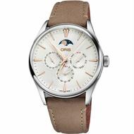 ORIS 豪利時 0178177294031-0752132FC大地色錶帶多功能月相機械腕錶/白面40mm