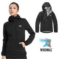 【美國 The North Face】女新款 WindWall 防風防潑透氣連帽外套.輕量機能運動夾克.風衣/功能性插手袋/3VTR 黑 N