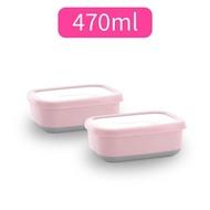 304不鏽鋼北歐長方型附蓋保鮮盒隔熱碗-470ml(2入)