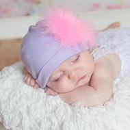 【Jamie Rae】100%純棉帽_薰衣草紫棉帽+甜蜜糖果粉大鸛毛(JRCHM10)