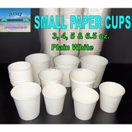 Small Paper Cup 3 4 5 6.5 oz 50 PIECES Drinking Service Cups  White